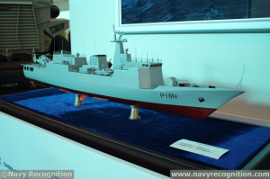 NavyRecognition Photo, Model of P18N OPV on the CSOC stand during AAD 2014