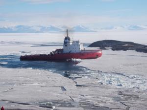 The Russian icebreaker Vladimir Ignatyuk breaking a path in the annual sea ice to McMurdo Station, Antarctica on January 26, 2012. Credit: Steve Royce