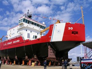 Launch of USCGC Mackinaw (WLBB-30) on April 2, 2005. Photo by Peter J. Markham.