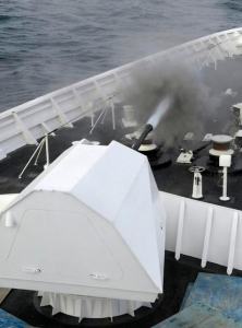 Test firing of the 57mm Bofors aboard USCGC Bertholf, photo by MMagaro