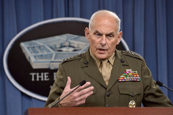 Marine Corps Gen. John F. Kelly, commander of U.S. Southern Command, discusses the latest developments in his command's efforts to stem the flow of drugs from South and Central America while briefing reporters at the Pentagon, March 13, 2014.