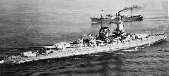 Admiral Graf Spee in the English Channel in April 1939. U.S. Naval Historical Center Photograph # NH 89566.