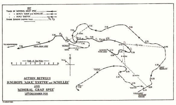 From official British report into the cruise of the Graf Spee and Battle of the River Plate. Published by HMSO (His Majesty's Stationery Office).
