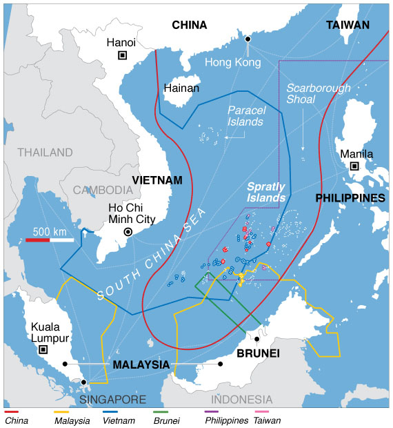 South China Sea claims map by Voice of America, 31 July, 2012