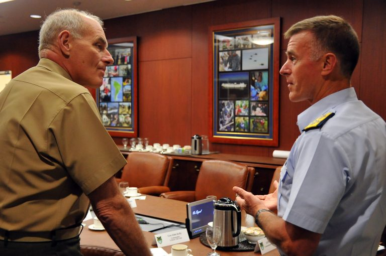 Coast Guard Commandant Adm. Paul Zukunft (right) meets with then-Southern Command chief Gen. John Kelly, now Trump's nominee for Secretary of Homeland Security.