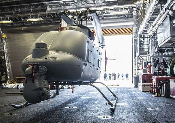 MQ-8C Fire Scout Ground Turns and Telemetry Testing onboard USS Montgomery (LCS 8)